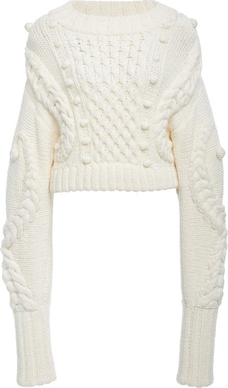 Oscar De La Renta Cropped Cable-Knit Wool-Blend Sweater