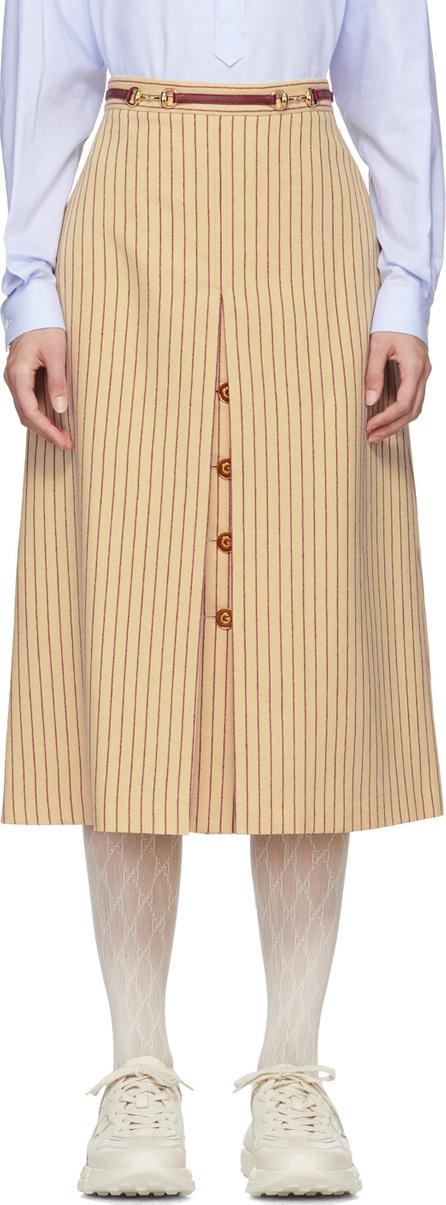 Gucci Beige & Red Pinstripe Skirt