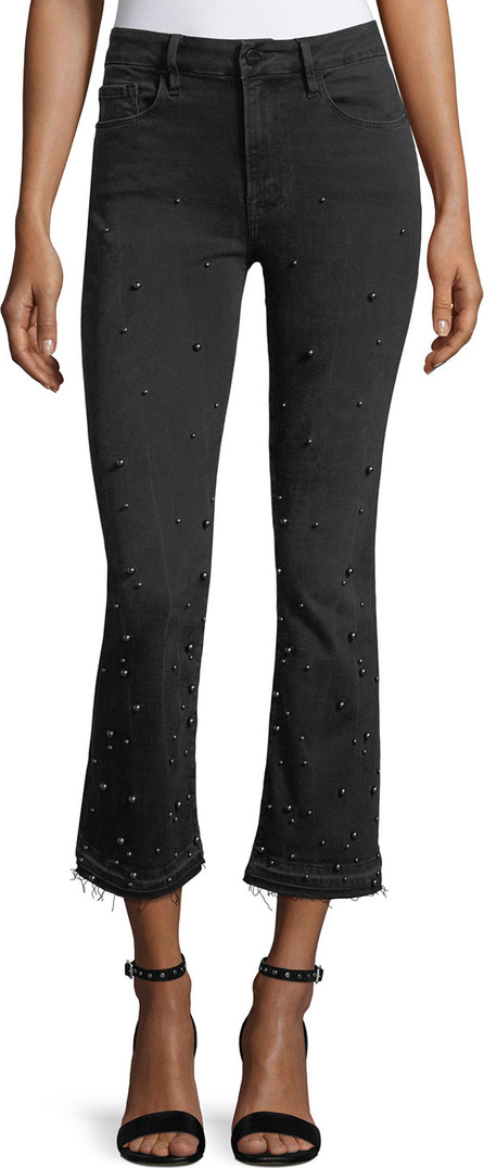 FRAME DENIM Le Crop Mini Boot-Cut Jeans with Beading