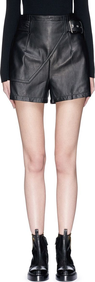 3.1 Phillip Lim Mock wrap leather shorts
