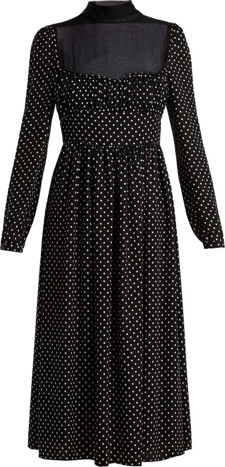 Polka dot-print silk dress