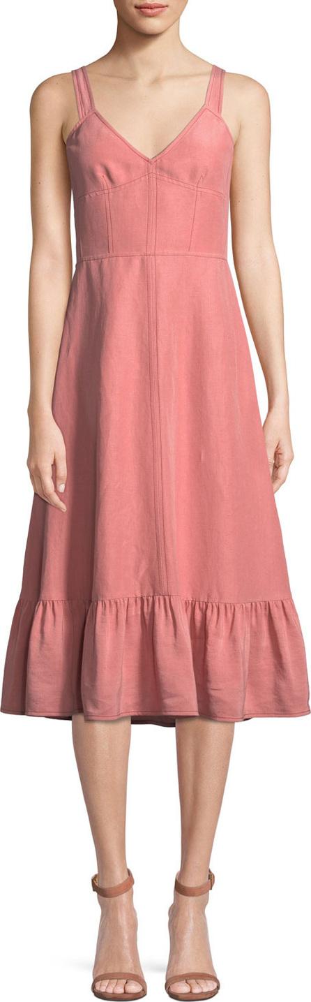 Rebecca Taylor Sleeveless Lace-Up Cotton/Linen Slip Dress