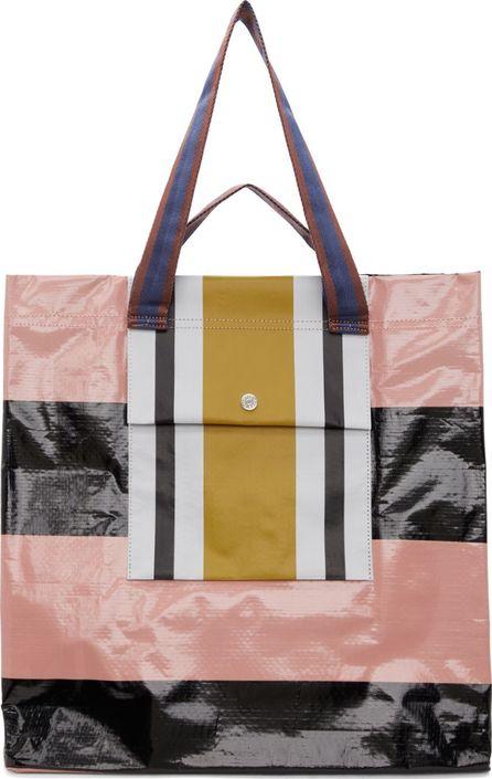Acne Studios Pink & Black Face Shopper Tote