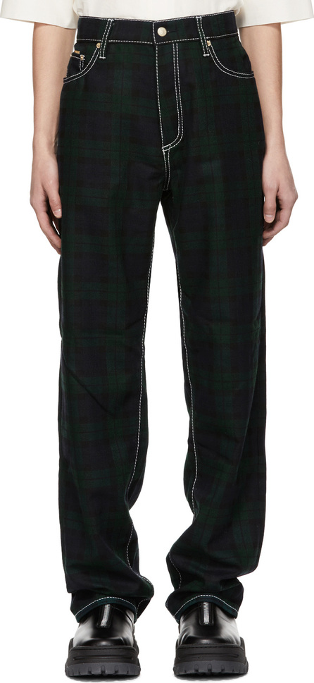 Eytys Green & Navy Tartan Benz Trousers