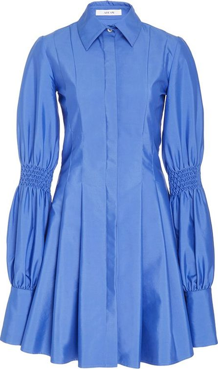 ADEAM Pleated Shirt Dress With Smocking Detail