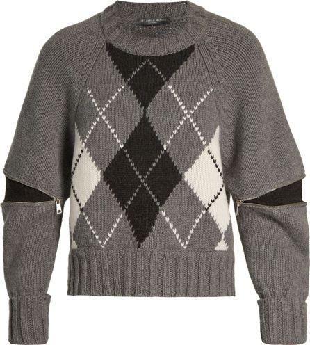 Alexander McQueen Zipped-sleeve argyle-knit sweater