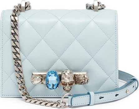 Alexander McQueen 'The Small Jewelled Satchel' in matelassé leather with Swarovski crystal knuckle