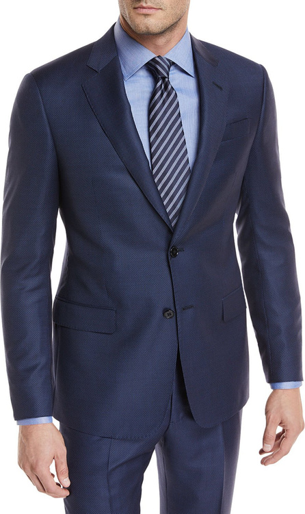 Giorgio Armani Tonal-Dot Wool Two-Piece Suit