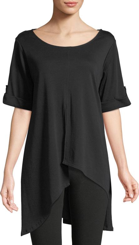 Joan Vass Short-Sleeve Artistic Cotton Tunic