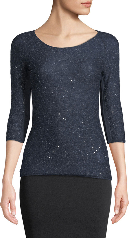 Giorgio Armani 3/4-Sleeve Mohair Knit Sweater Top with Sparkle, Navy