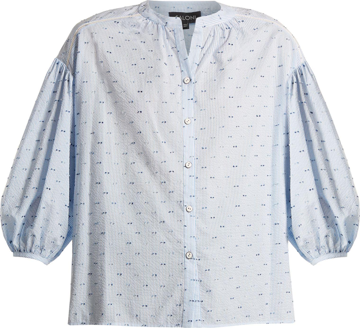 Saloni - Bette cotton-blend seersucker shirt