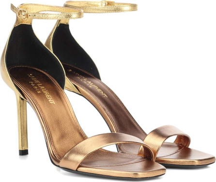Saint Laurent Amber 85 metallic leather sandals