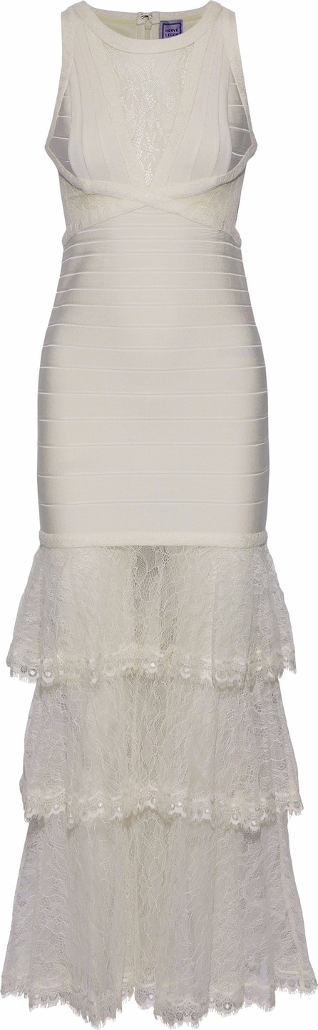 Herve Leger Tiered Chantilly lace-paneled bandage gown