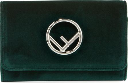Fendi F Logo Velvet Wallet on a Chain