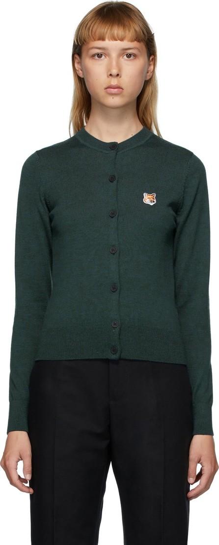 Maison Kitsune Green Wool Fox Head Cardigan