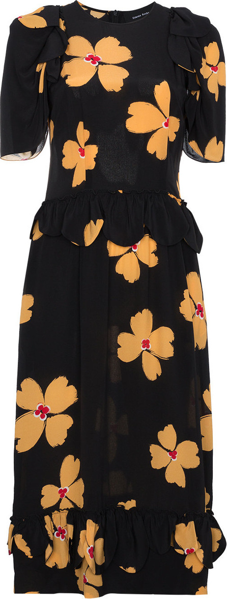 Simone Rocha Floral print scallop trimmed silk dress