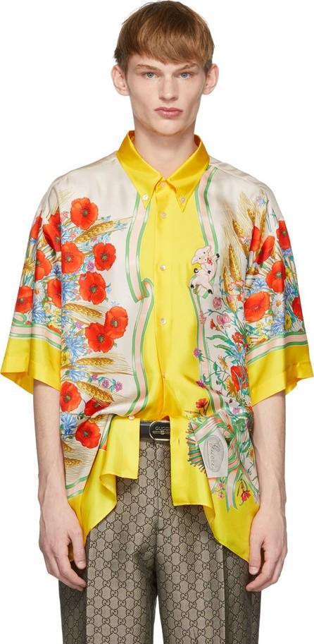 Gucci Yellow & White Silk Flowers Shirt