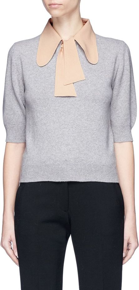 Chloe Detachable bow collar wool-cashmere knit top