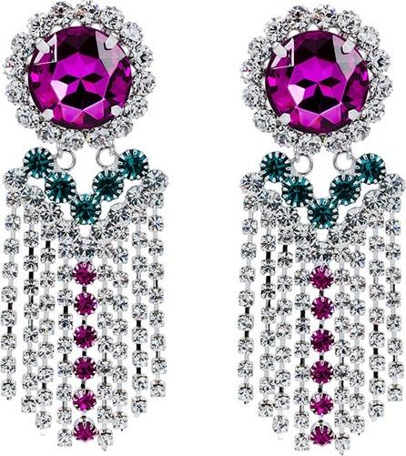 Alessandra Rich large fringe crystal embellished clip-on earring