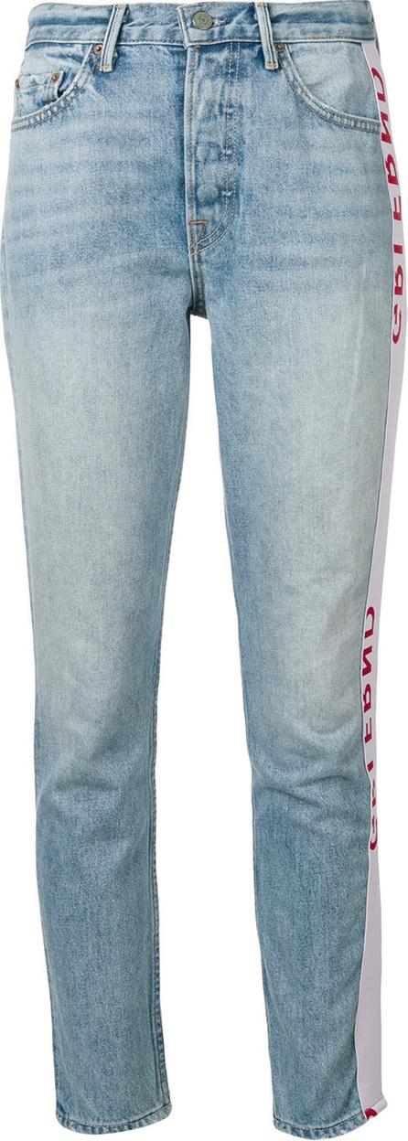 Grlfrnd Logo trim side stripe jeans