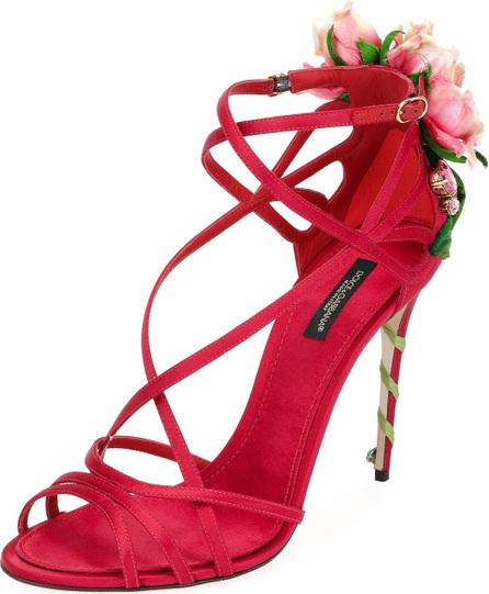 Dolce & Gabbana Jeweled Satin Sandal with Rose Heel