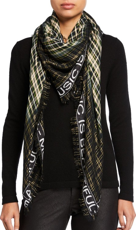 Zadig & Voltaire Scotty Metallic Plaid Message Border Scarf