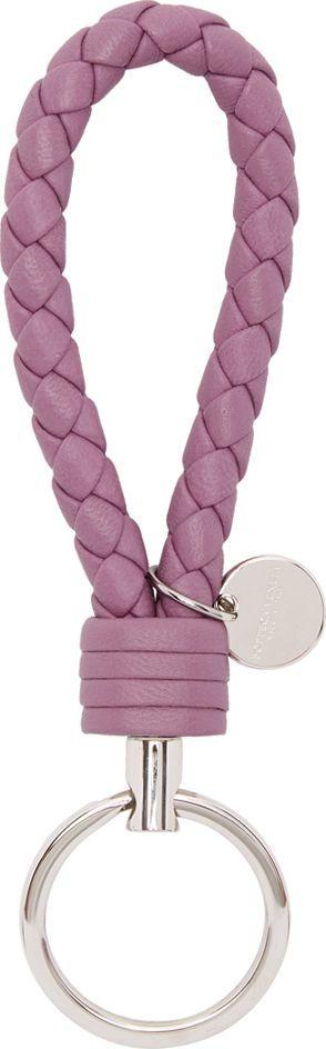 Bottega Veneta Purple Intrecciato Knot Keychain
