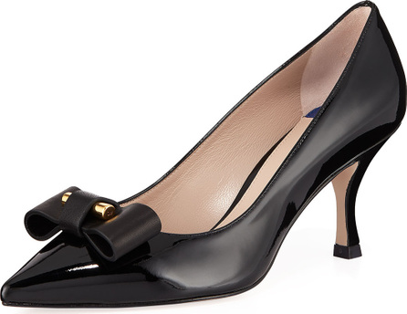 Stuart Weitzman Belle Pointe Shiny Leather Bow Mid-Heel Pumps