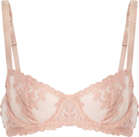 Fleur of England Sheer and lace satin balconette bra