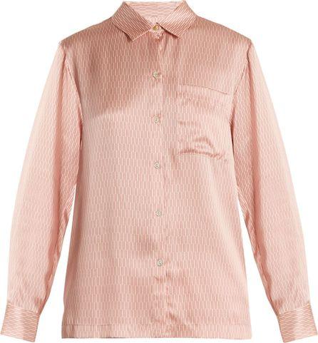 Asceno Matchstick-print silk-satin pyjama  top
