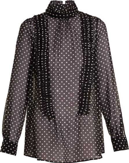 Nº21 High-neck ruffle-trimmed silk blouse