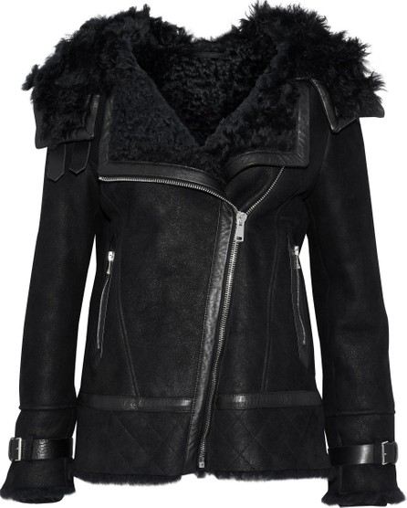 Belstaff Marsh leather-trimmed suede and shearling hooded jacket