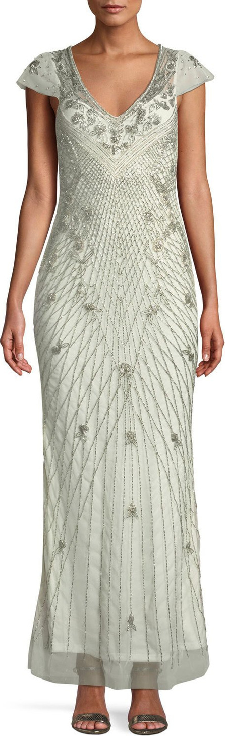 Parker Conzuelo V-Neck Beaded Gown