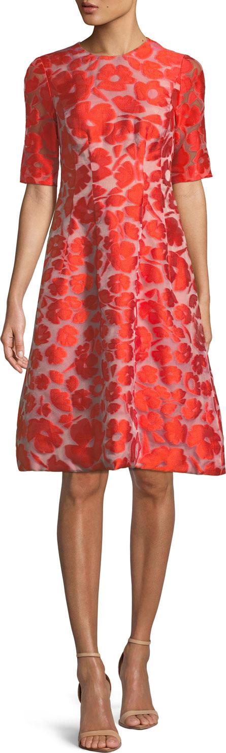 Lela Rose Holly Elbow-Sleeve Fit-and-Flare Jacquard Dress