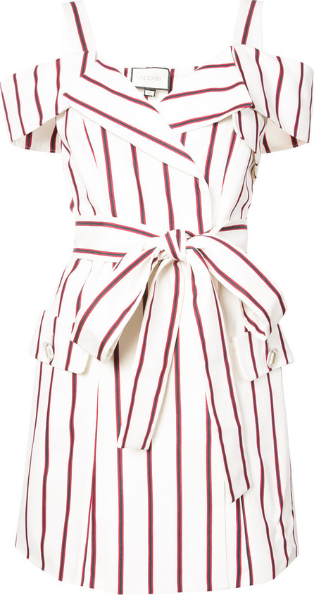 Alexis Striped cold shoulder wrap dress