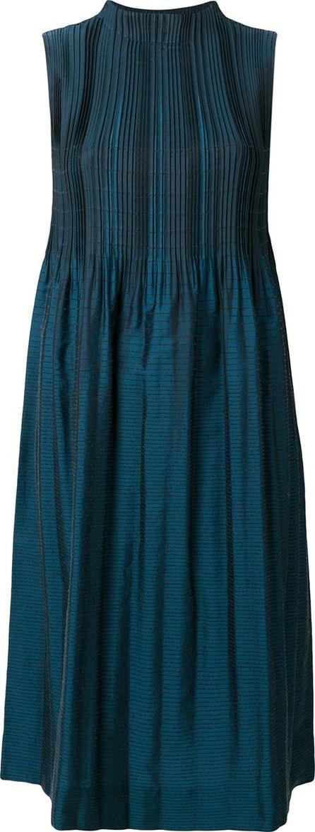 Issey Miyake contrast pleat high neck dress