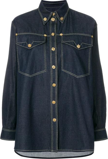 Versace Embellished button denim shirt