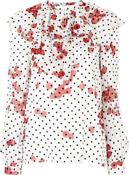 Giambattista Valli ruffled polka dot blouse