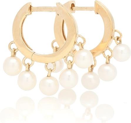 Sydney Evan 14kt gold hoop earrings with pearls