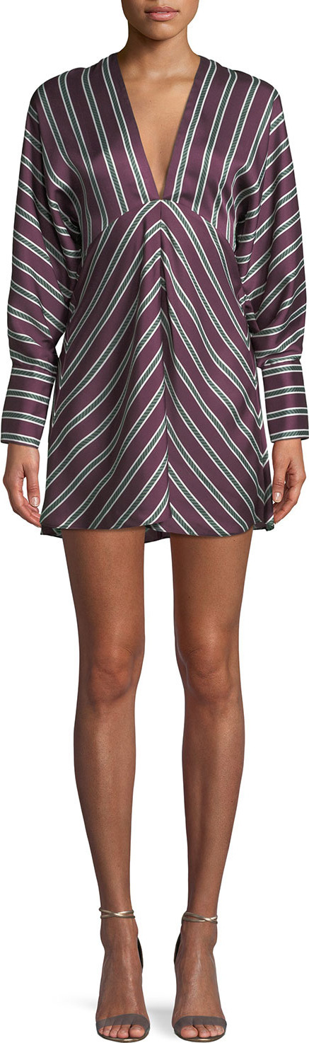 Alexis Tena Striped Plunging Empire Shift Dress