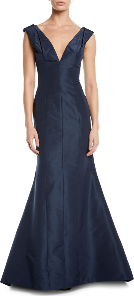 Carolina Herrera Pleated-Shoulder V-Neck Gown