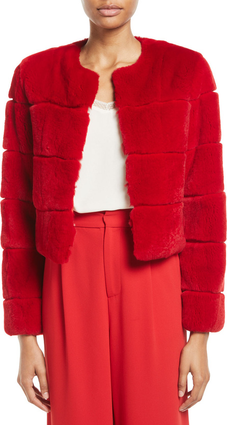 Alice + Olivia Theon Rabbit Fur Box Crop Coat