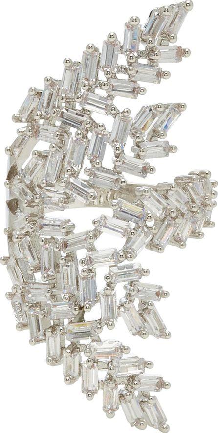 Fallon Deco Fern Rhodium-Plated Crystal Ring