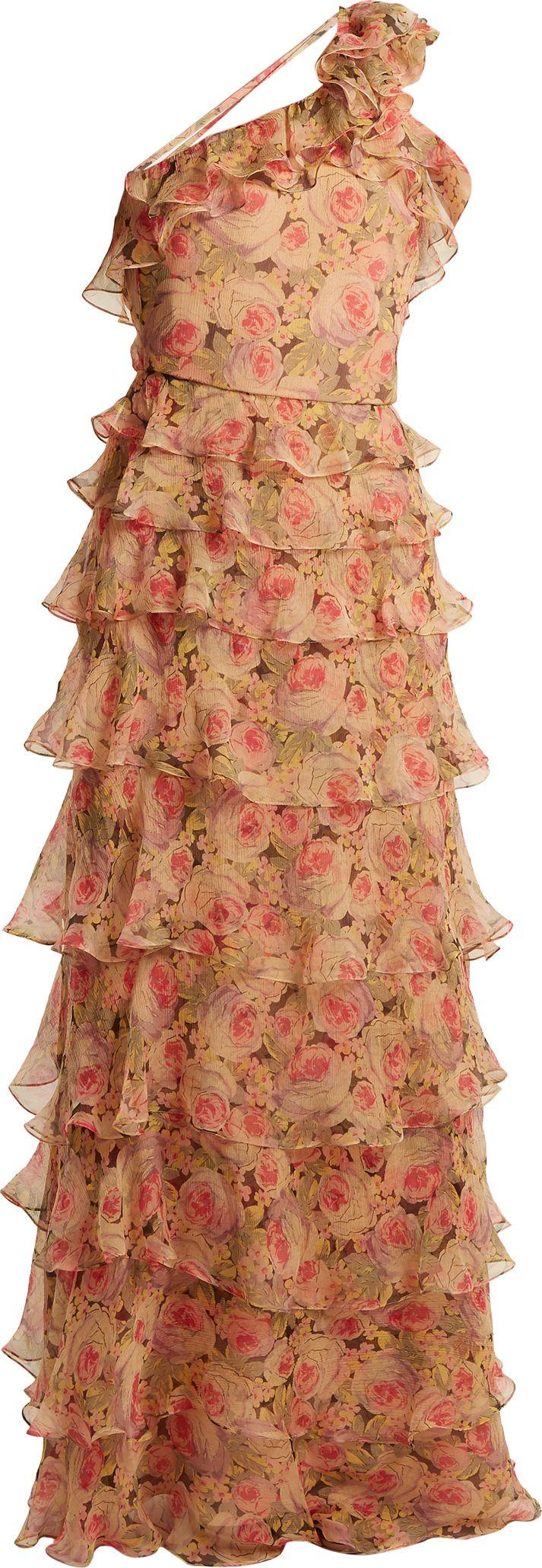 Vilshenko - Sabina peony-print silk-chiffon gown