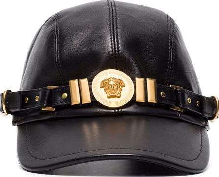 Versace Black Medusa medallion leather cap