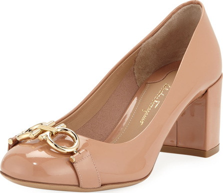 Salvatore Ferragamo Gancini Patent 55mm Pump, New Blush