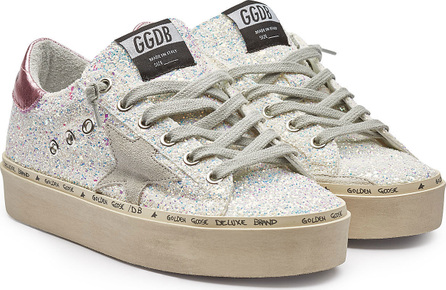 Golden Goose Deluxe Brand Hi Star Leather and Glitter Platform Sneakers