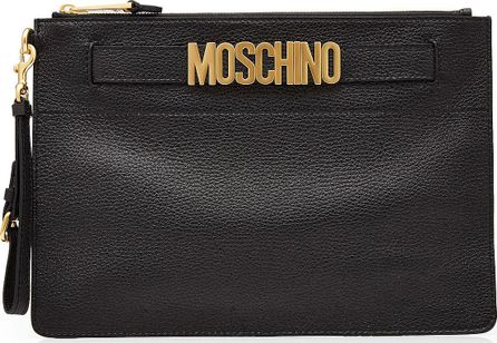 Moschino Logo Embellished Leather Clutch
