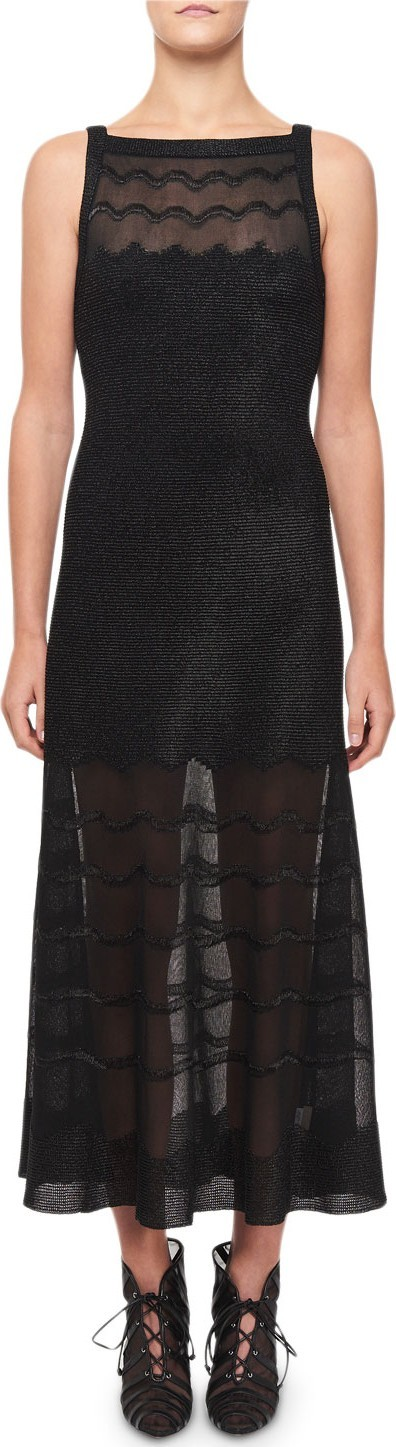 Alaïa Squiggled Knit Illusion Dress