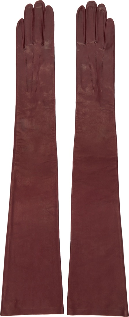 Erdem Burgundy Long Leather Gloves
